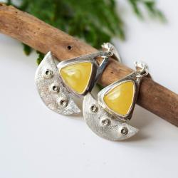 bursztynowe łódeczki kolczyki srebrne żółte - Kolczyki - Biżuteria