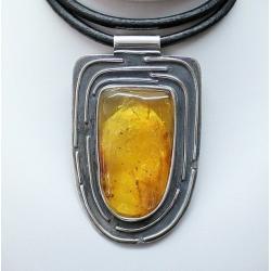 duży bursztyn,naszyjnik z bursztynem,srebro,wisior - Naszyjniki - Biżuteria