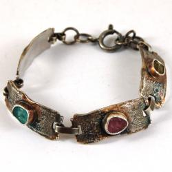srebrna bransoleta z turmalinami - Bransoletki - Biżuteria