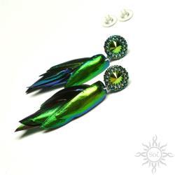 swarovski,zielone,efektowne,gronka,lekkie,długie, - Kolczyki - Biżuteria