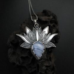 kwiat lotosu,wisiorek,biżuteria,srebro,fiann - Wisiory - Biżuteria
