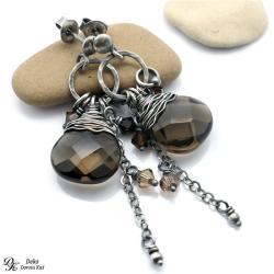 kolczyki,otulone,srebro,unikat,dymny,kwarc,brąz, - Kolczyki - Biżuteria