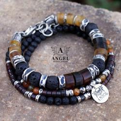 komplet bransolet,biżuteria z bursztynów - Dla mężczyzn - Biżuteria