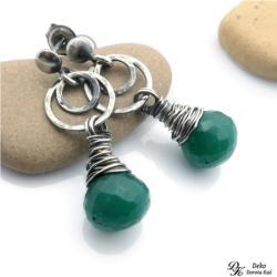 zielony,onyks,otulone,srebro,wirewrapping - Kolczyki - Biżuteria
