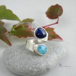 niebieski,pierścionek z kamieniami - Pierścionki - Biżuteria