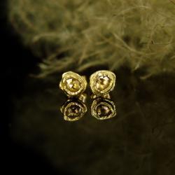 złoto,diament,kolczyki,sztyfty,unikat - Kolczyki - Biżuteria