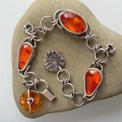 z bursztynem,srebro oksydowane,boho - Bransoletki - Biżuteria