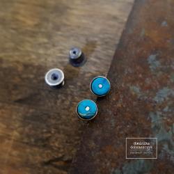 srebro,jaspis,turkusowy,minimalizm - Kolczyki - Biżuteria