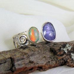 pierścionek srebrny z opalem i tanzanitem - Pierścionki - Biżuteria