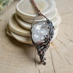 naszyjnik z kryształem,kryształ,boho naszyjnik - Naszyjniki - Biżuteria