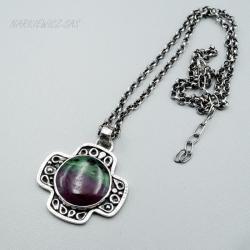 Srebrny wisior - krzyż z rubinem z zizytem - Wisiory - Biżuteria