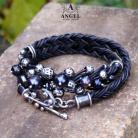 Bransoletki bransoleta z pereł,biżuteria skórzana
