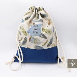 pióra,plecak,naturalny,bawełna - Podróżne - Torebki