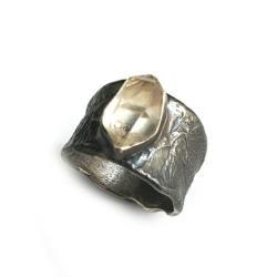 herkimer,diament,srebrny,srebro,blask,szarości - Pierścionki - Biżuteria
