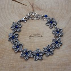 kwiat,kwiatek,agat,wire wrapping,stal - Bransoletki - Biżuteria
