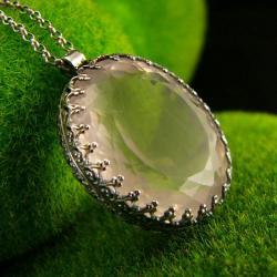 nehesi,naszyjnik,srebrny,wisior,kwarcem,różowym - Naszyjniki - Biżuteria