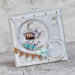 urodziny,myszka,tort,shaker box - Kartki okolicznościowe - Akcesoria