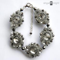 bransoletka,grafitowa,srebrna,kryształowa - Bransoletki - Biżuteria