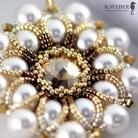 Wisiory Wisior,perłowy,złoty,Swarovski,biały