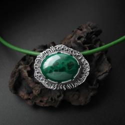 naszyjnik,biżuteria srebrna,z malachitem,fiann - Naszyjniki - Biżuteria