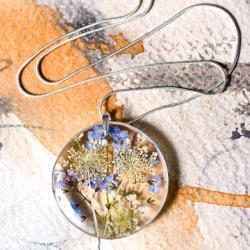 niezapominajki,naszyjnik z żywicy,srebro 925 - Naszyjniki - Biżuteria