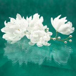 Swarovski,perła,jedwab,kwiat,ozdoba,ślub, - Do włosów - Biżuteria