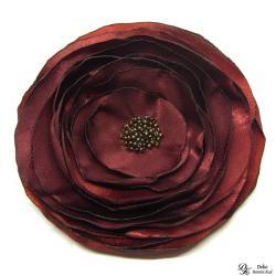 broszka,kwiat,satyna,brąz,srebrna,szyta - Broszki - Biżuteria