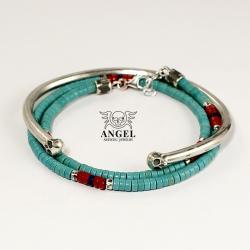 bransoleta z czaszkami,męska biżuteria - Dla mężczyzn - Biżuteria