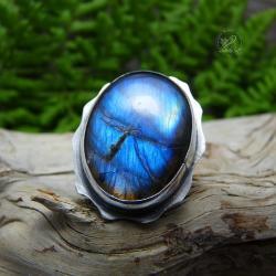srebrny,regulowany,labradoryt,rozgwiazda,niebieski - Pierścionki - Biżuteria