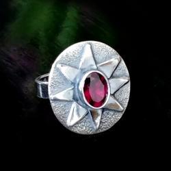 rodolit,srebrny,szary,słońce,blask,szarość,różowy - Pierścionki - Biżuteria
