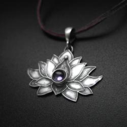 kwiat lotosu,wisiorek,lotos,biżuteria autorska - Wisiory - Biżuteria
