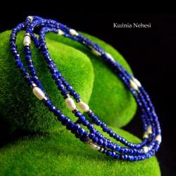nehesi,naszyjnik,wisior,srebrny,lapisem,perła - Naszyjniki - Biżuteria