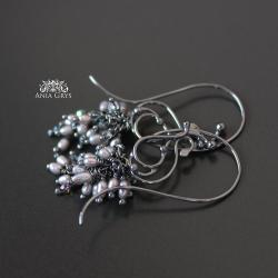 perły,szare,oksydowane,kolczyki,aniagrys - Kolczyki - Biżuteria