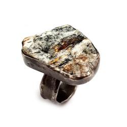 astrofilit,srebrny,blask,szarości,srebro,złocisty - Pierścionki - Biżuteria