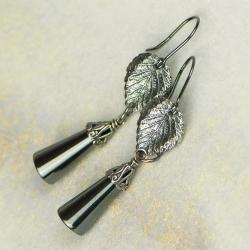 kolczyki srebrne,liście hematyt - Kolczyki - Biżuteria