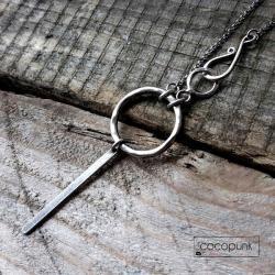 długi,komplet,zapięciehak,srebrny,fakturowany - Naszyjniki - Biżuteria