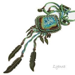 niepowtarzalny,ceramika,naszyjnik,zielony, - Naszyjniki - Biżuteria