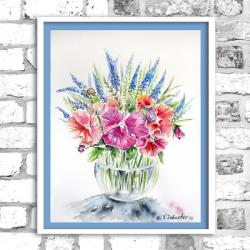 akwarela,kwiaty,martwa natura, - Obrazy - Wyposażenie wnętrz