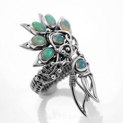 opal etiopski,srebrny,duży,elegancki - Pierścionki - Biżuteria