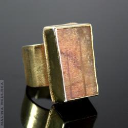 heliolit okazały pierścień,surowy,kamień słoneczny - Pierścionki - Biżuteria