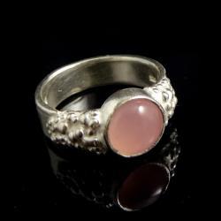 kwarc różowy,blask,srebrny,pastelowy,minerał - Pierścionki - Biżuteria