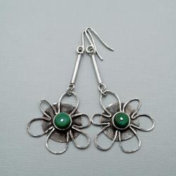 serbrne kwiaty z turkusem - Kolczyki - Biżuteria