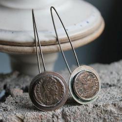 kolczyki srebro brąz rzym roma antyk awangarda - Kolczyki - Biżuteria