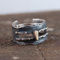 pierścionek unisex ze srebra i złota - Pierścionki - Biżuteria