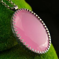 nehesi,naszyjnik,srebrny,wisior,różowym,opalem - Naszyjniki - Biżuteria