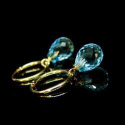 złoto,topaz,niebieski,kolczyki,koła - Kolczyki - Biżuteria