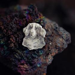pin pies,srebrna broszka pies,przypinka - Broszki - Biżuteria