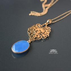 rozeta,pozłacana,chalcedon,niebieski,aniagrys - Wisiory - Biżuteria