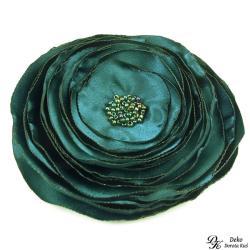 broszka,satyna,kwiatowa,zielona,ciemna,elegancka - Broszki - Biżuteria