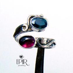 Pierścionek srebrny zturmalinem i topazem - Pierścionki - Biżuteria